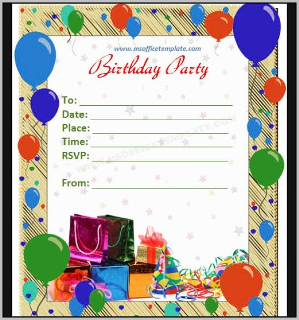 Birthday Invitation Card Templates Word