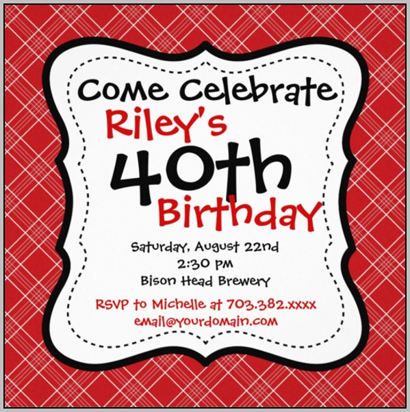 Birthday Invitation Template Red