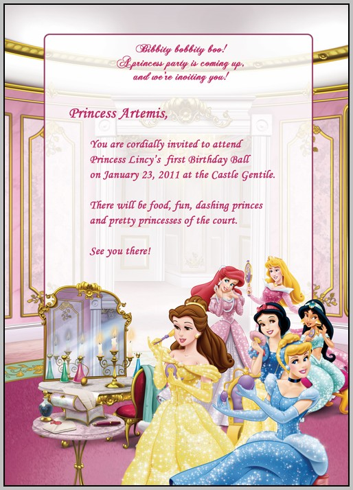 Birthday Invitation Templates Disney Princess