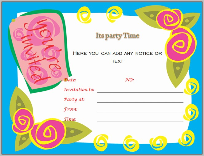 Birthday Invitation Templates For Microsoft Word