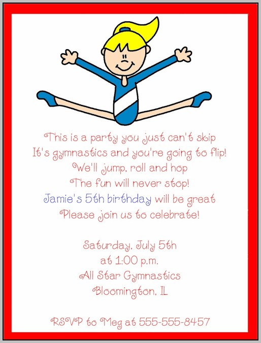 Birthday Party Invitation Template Gymnastics