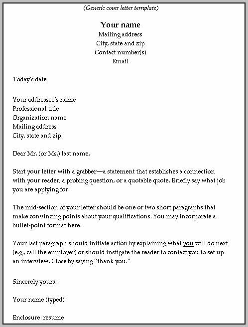 Blank Cover Letter Examples