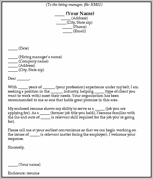 Blank Cover Letter Sample