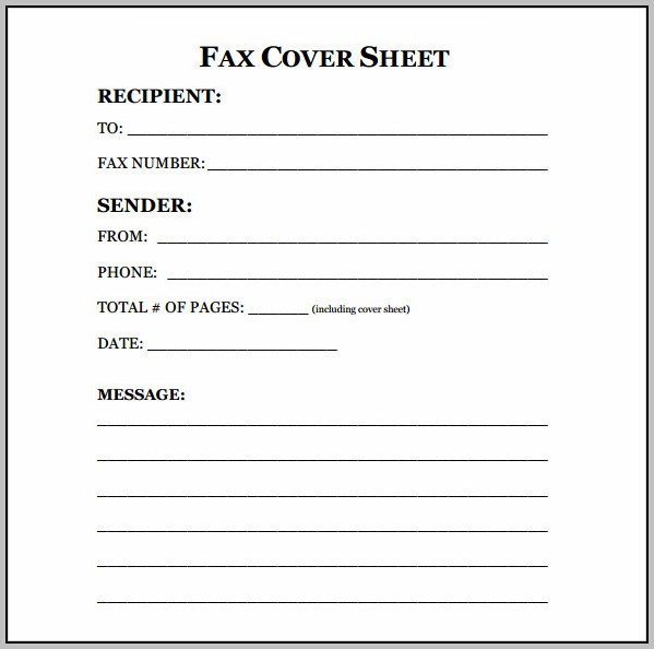 Blank Fax Cover Letter Template