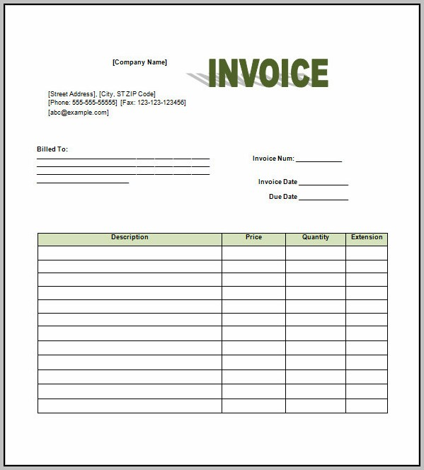 Blank Gst Invoice Template