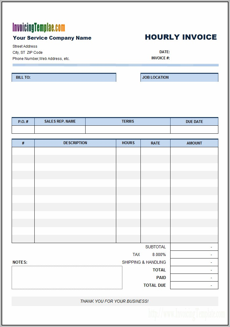 Blank Invoice Template For Hours Worked