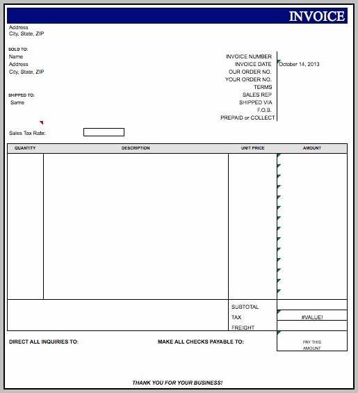 Blank Invoice Template For Microsoft Excel