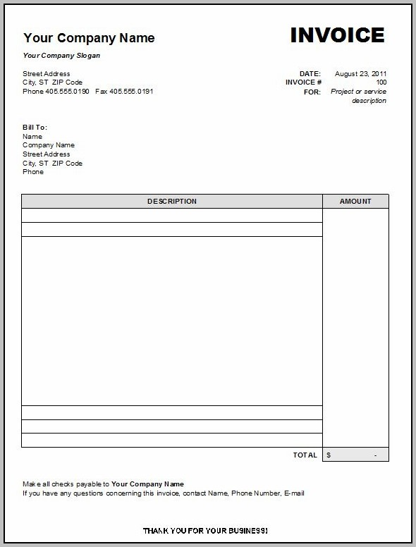 Blank Invoice Template Indesign