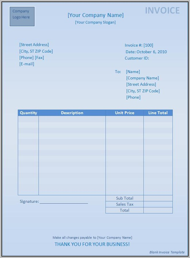Blank Invoice Template Mac Word