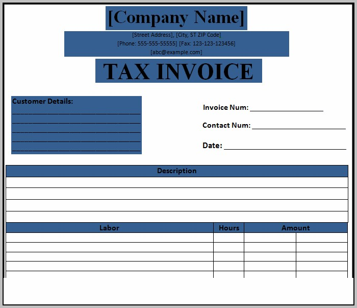 Blank Tax Invoice Format In Excel