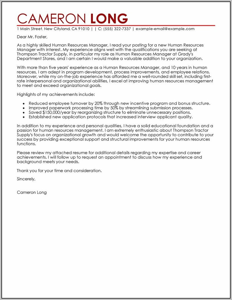 Cover Letter Examples For Resume Human Resources