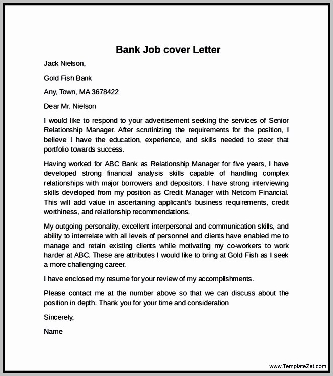Cover Letter For Bank Job Examples