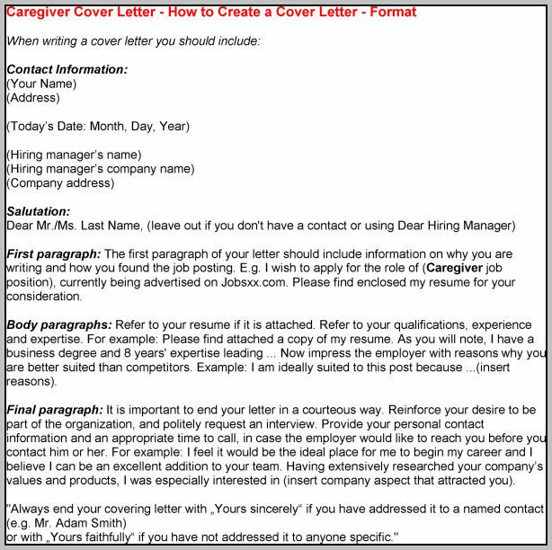 Cover Letter For Caregiver With Experience