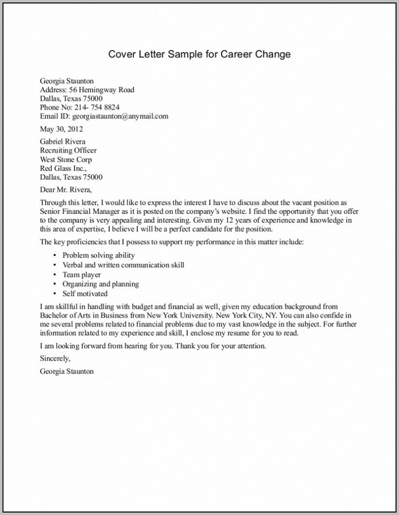 Cover Letter For Job Application Career Change