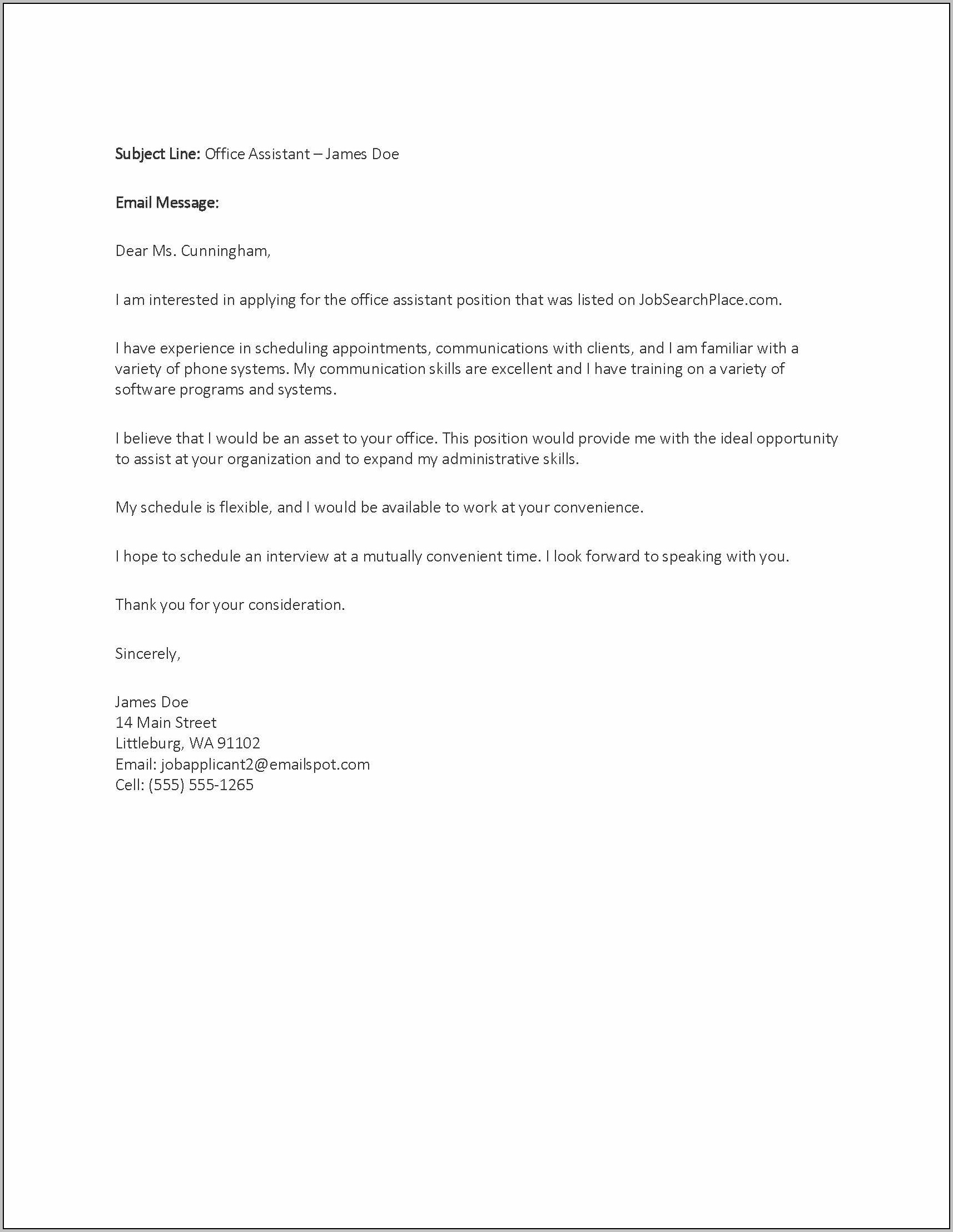 Cover Letter For Job Vacancy Inquiry