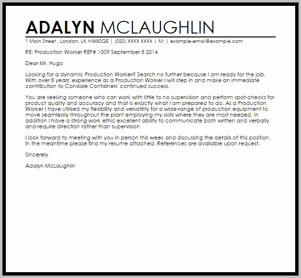 Cover Letter For Production Helper