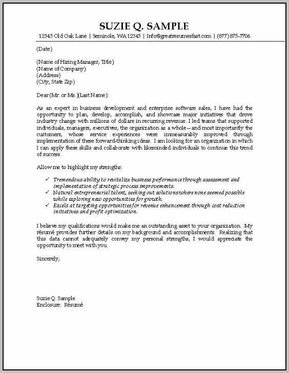Cover Letter For Resume Examples Sales