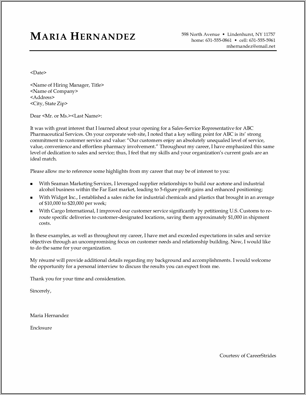 Cover Letter Professional Help