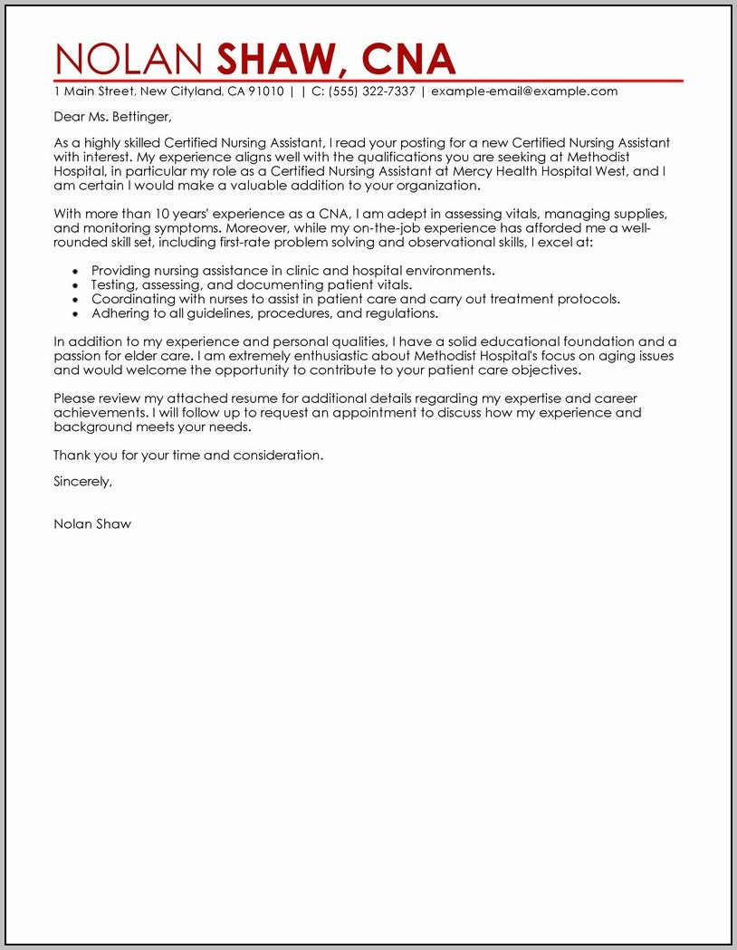 Cover Letter Sample For Resume Nursing