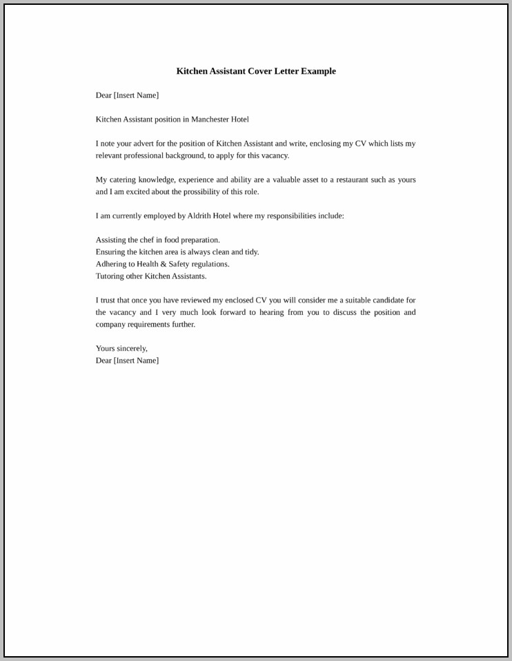 Cover Letter Sample Kitchen Helper