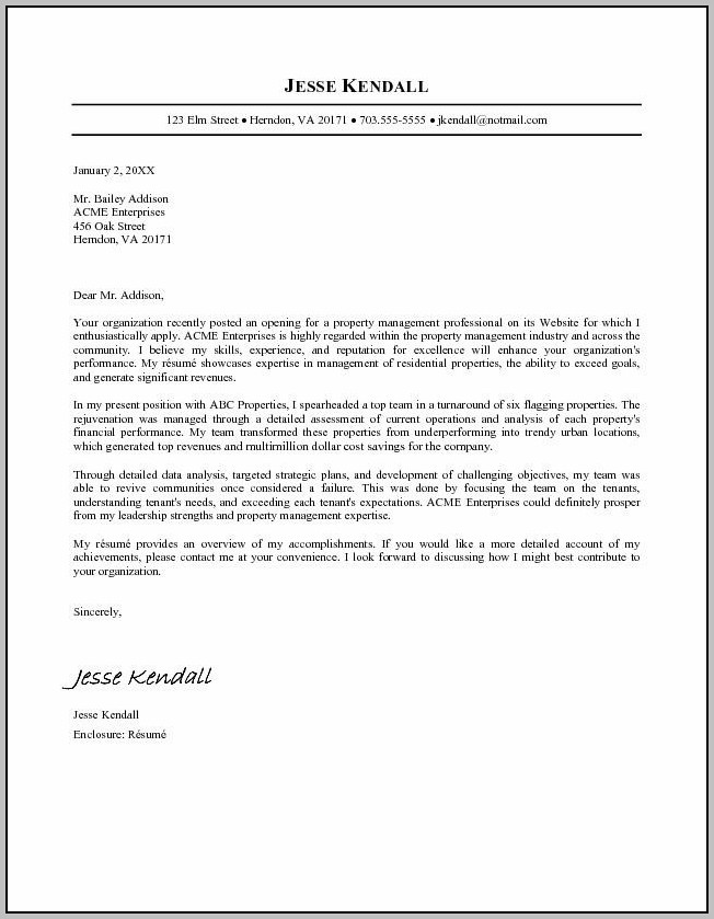 Cover Letters Example For A Resume