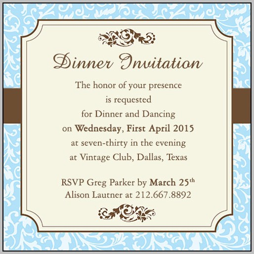 Dinner Party Invitation Email Template