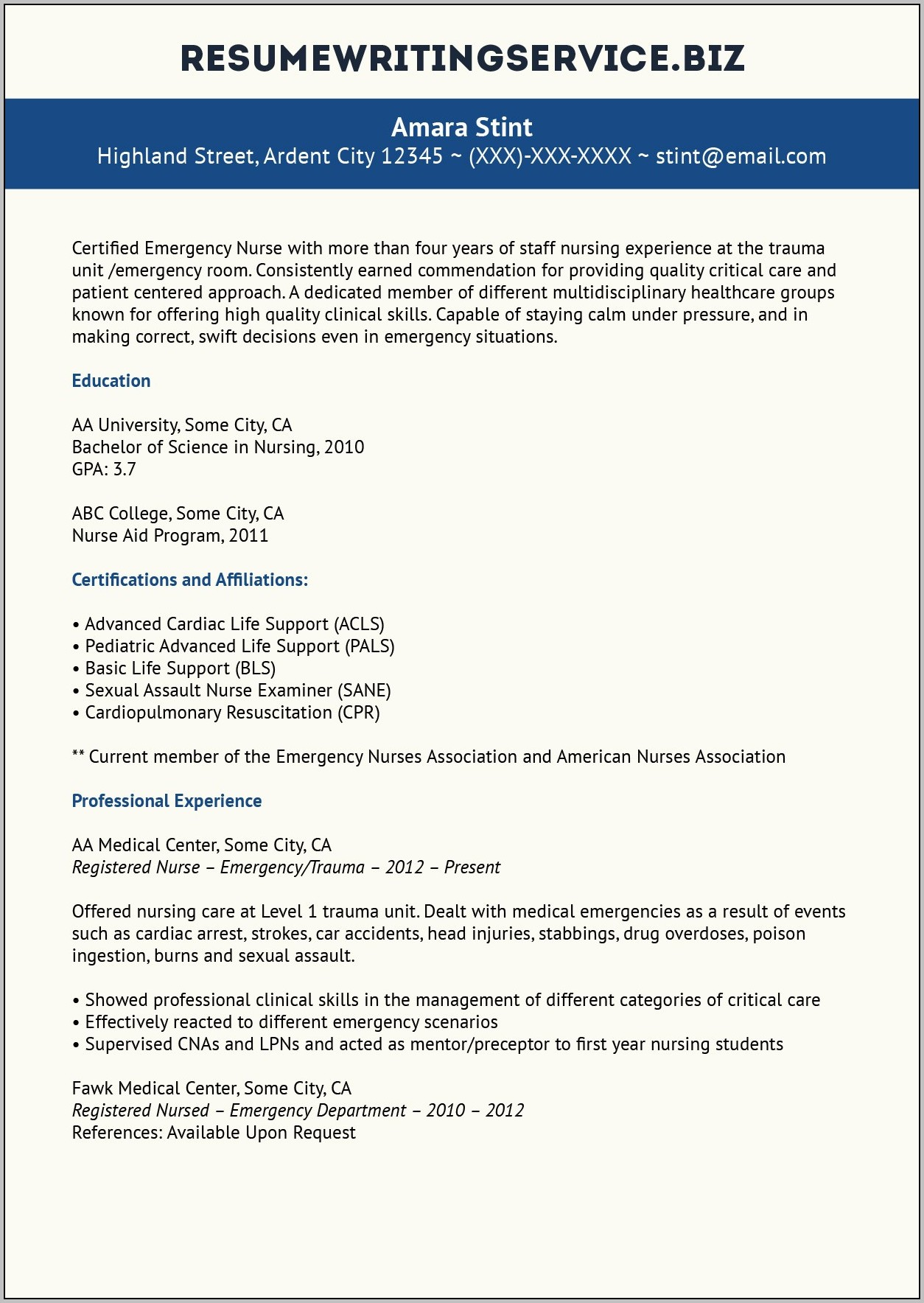 Emergency Room Registered Nurse Resume Examples