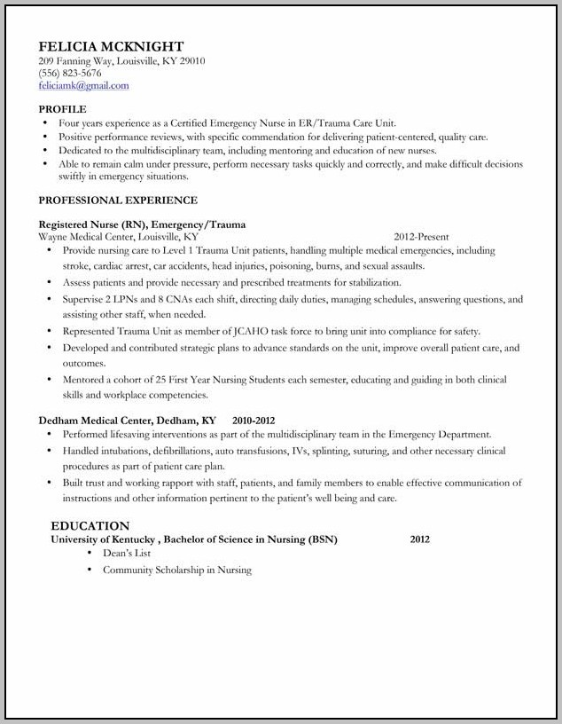 Entry Level Registered Nurse Resume Examples
