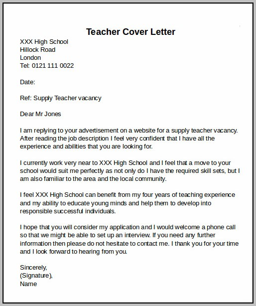 Example Cover Letter For Resume High School