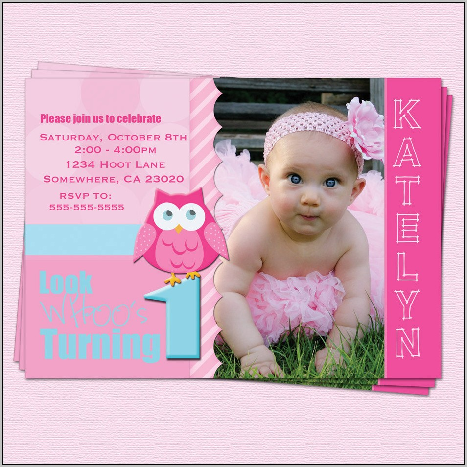 First Birthday Invitations Girl Templates