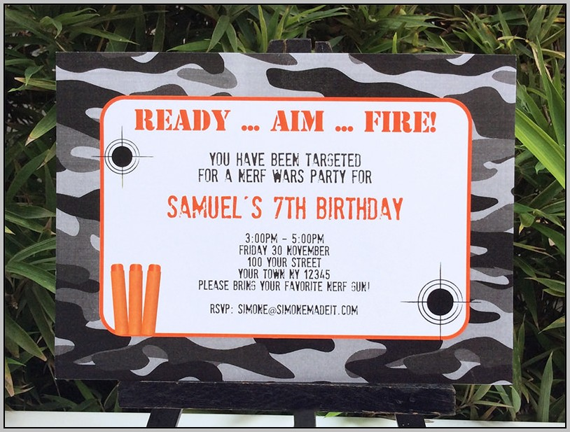 Free Birthday Invitation Nerf Templates