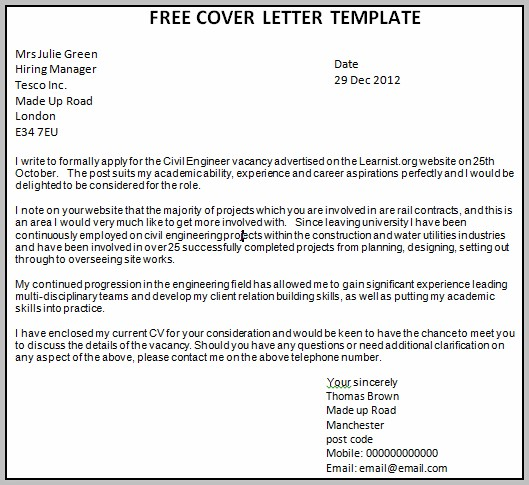 Free Cover Letter Downloads