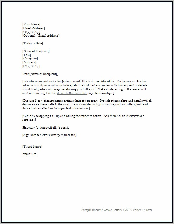 Free Cover Letter Sample Download