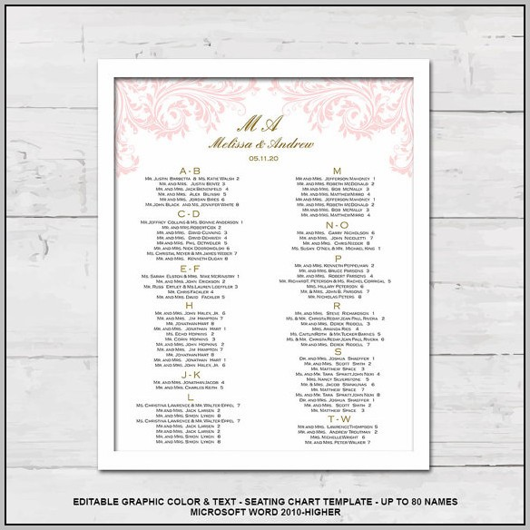 Free Editable Wedding Seating Chart Template