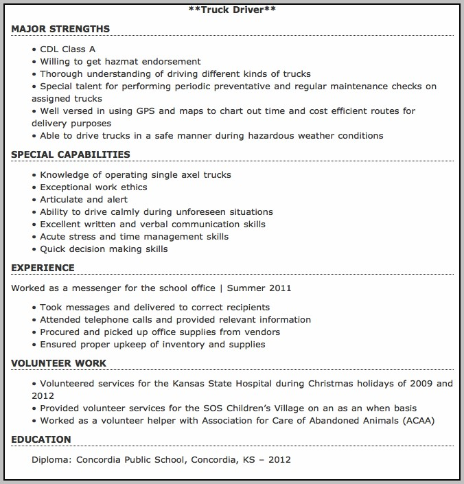 Free Resume Templates For Truck Drivers