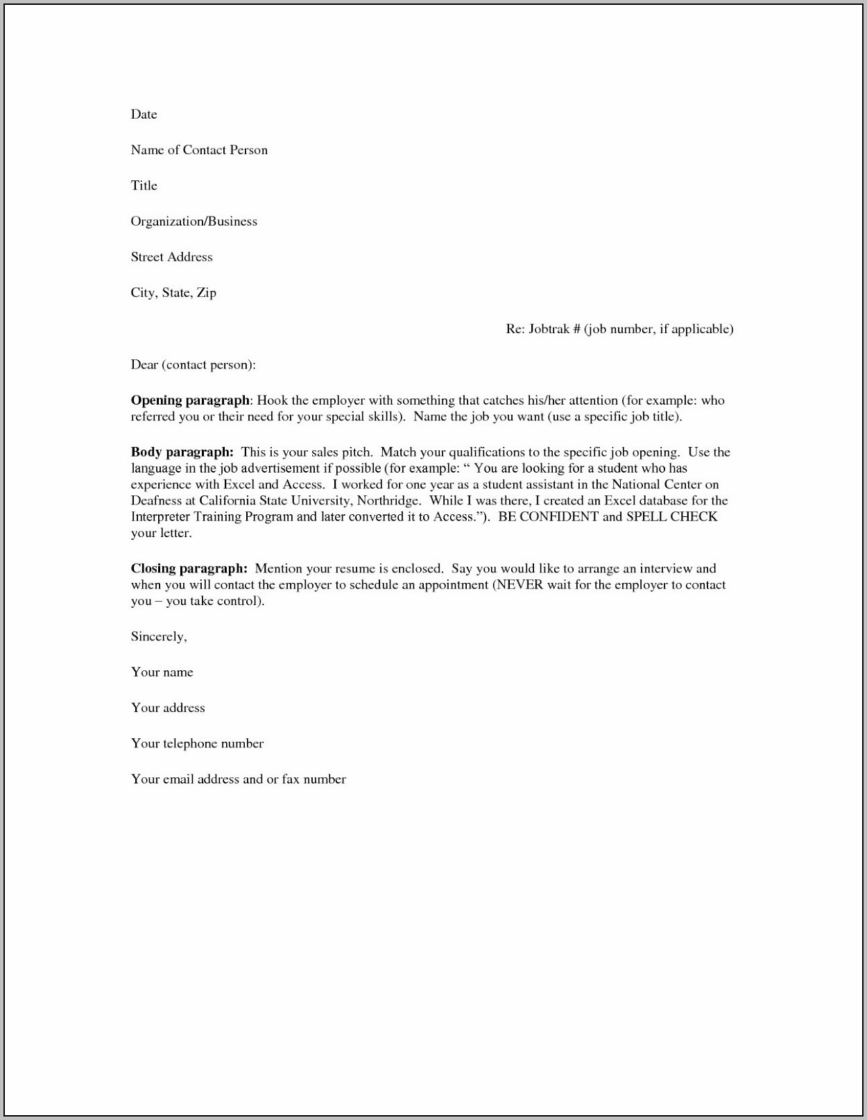 Free Sample Cover Letters For Resumes