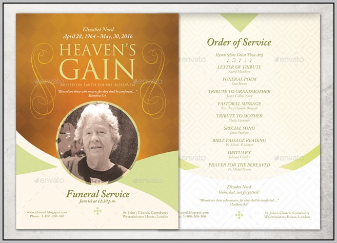 Funeral Program Template Doc