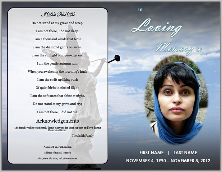 Funeral Program Template Publisher Free
