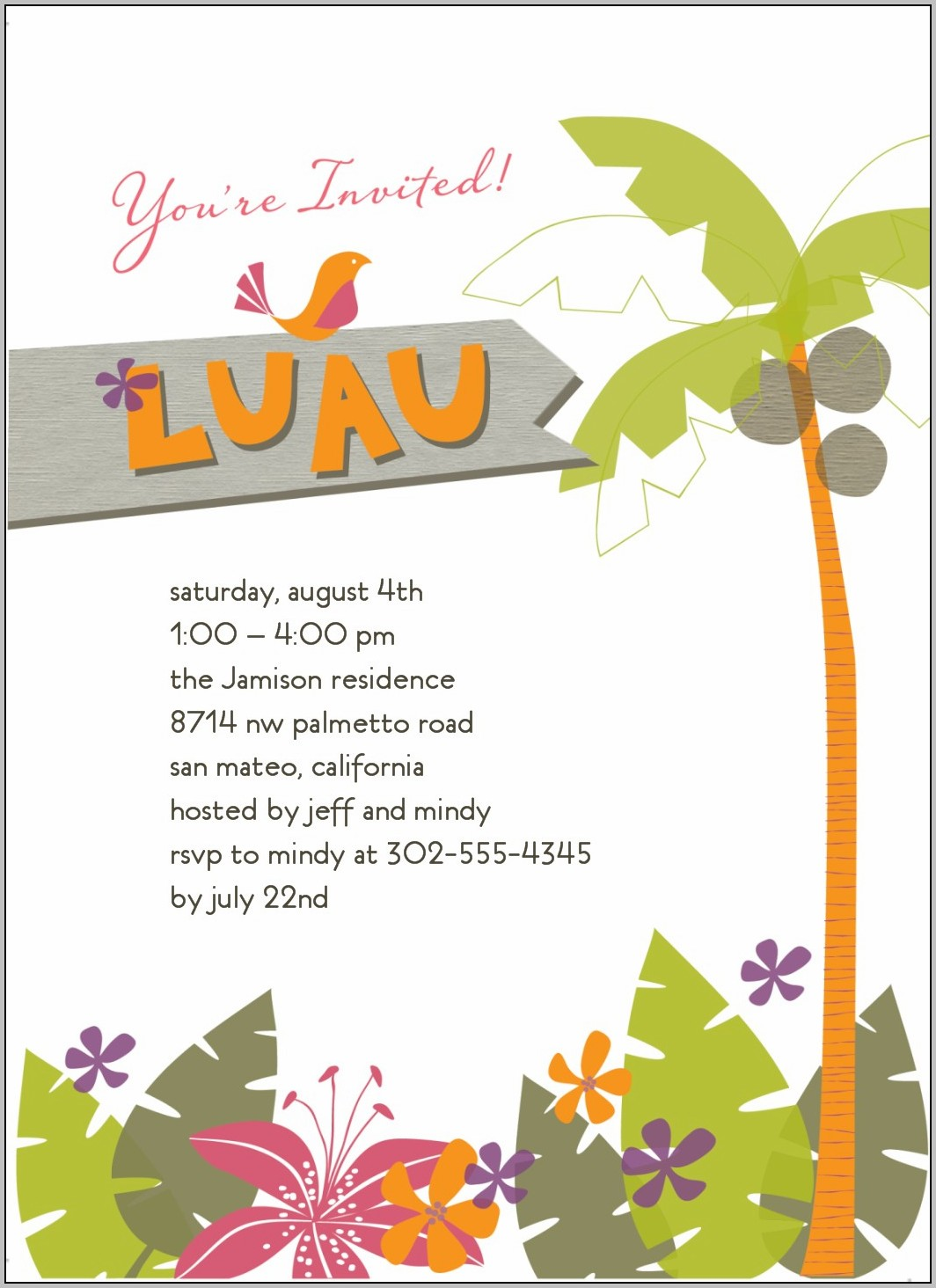 Hawaiian Party Invitation Template Free
