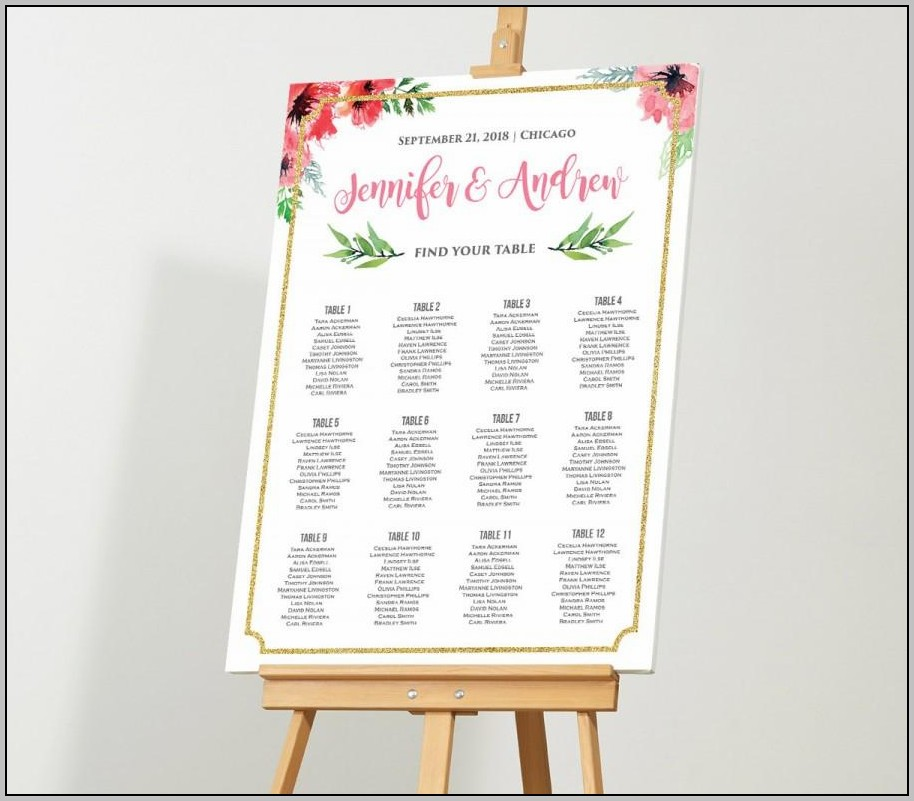 How To Make A Wedding Seating Chart Template