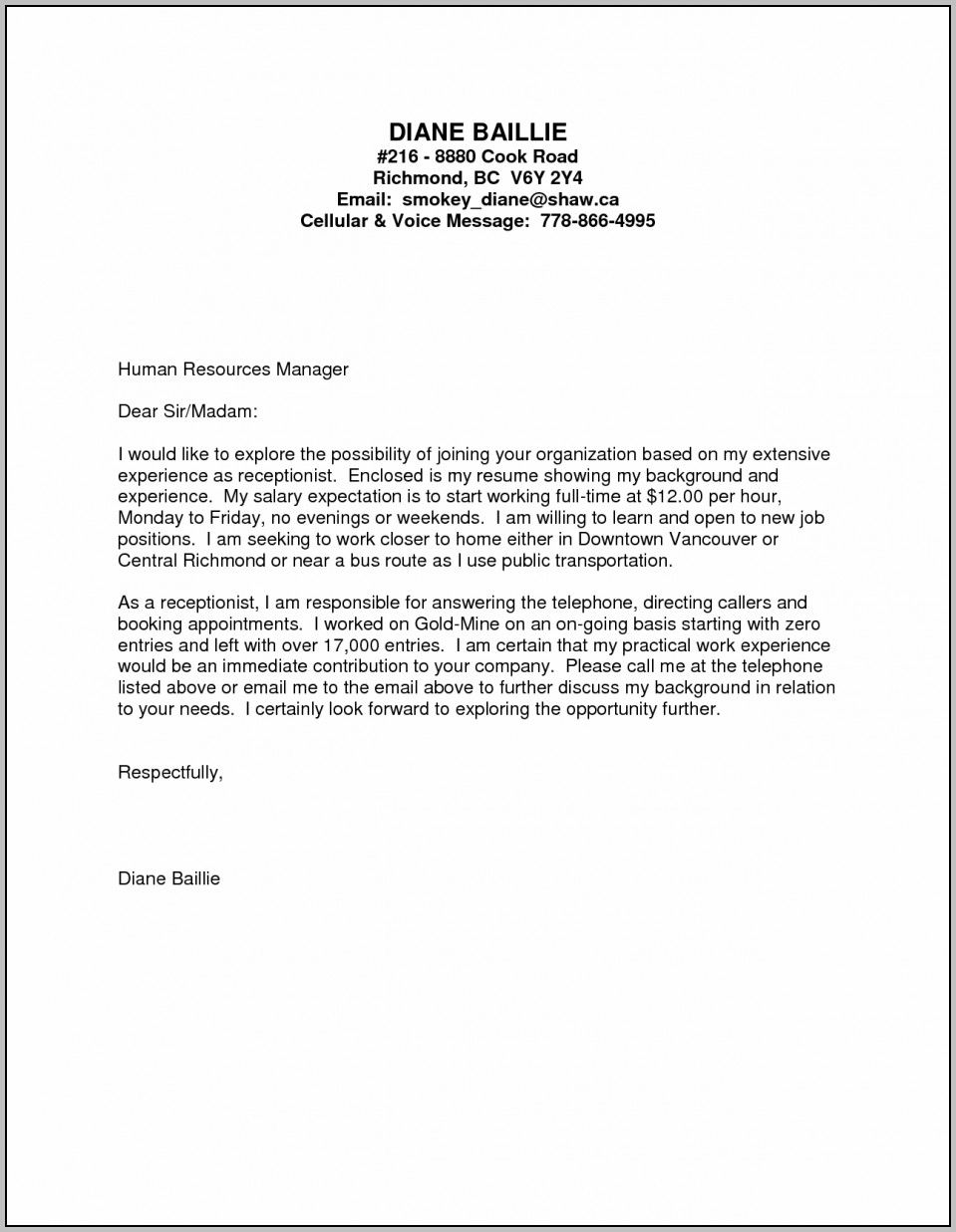 Kitchen Helper Cover Letter No Experience