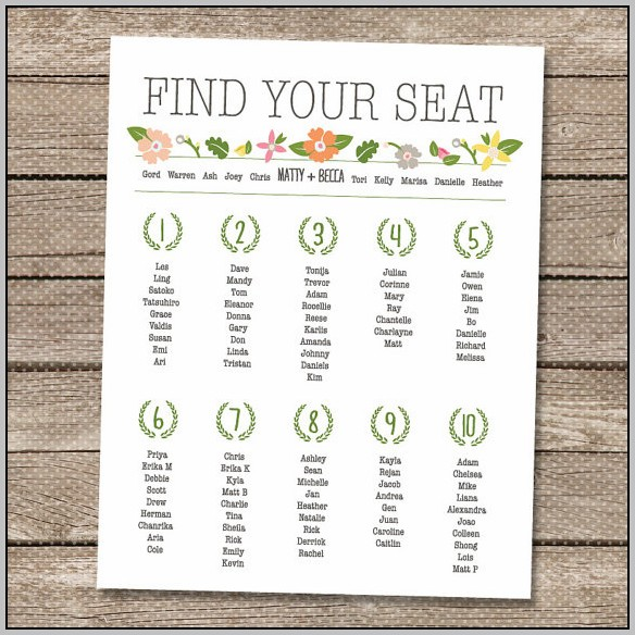 Making Your Own Wedding Seating Chart Template