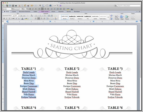 Microsoft Wedding Seating Chart Template