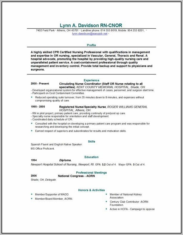New Graduate Registered Nurse Resume Examples