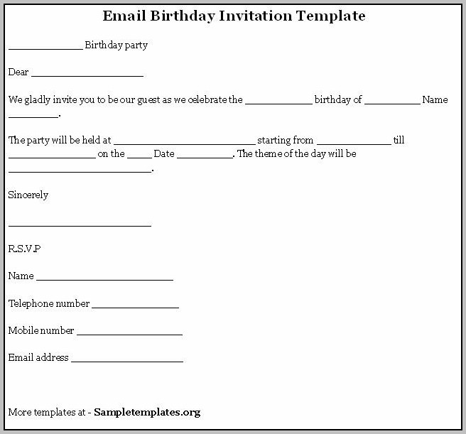 Party Invitation Template Email