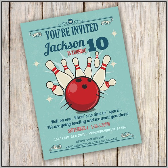 Party Invitation Templates Bowling