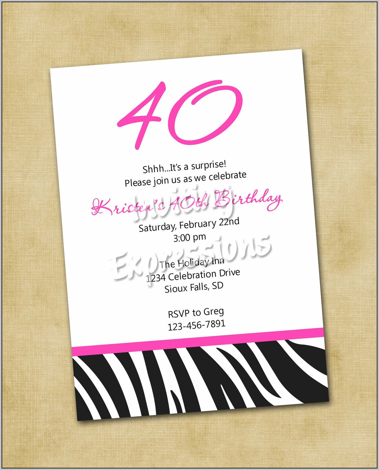 Party Invitation Templates For 40th Birthday