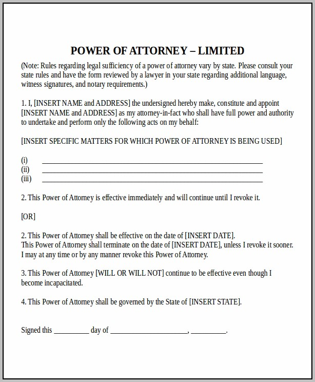Power Of Attorney Template Company