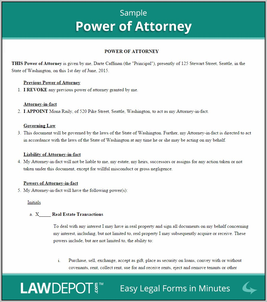 Power Of Attorney Template Doc