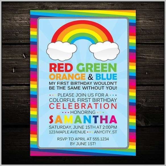Rainbow Birthday Invitation Templates Free